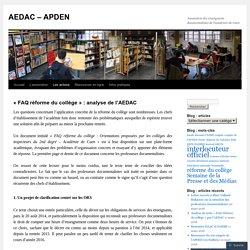 «FAQ réforme du collège : analyse de l'AEDAC