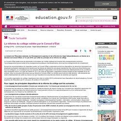 La réforme du collège validée par le Conseil d'État