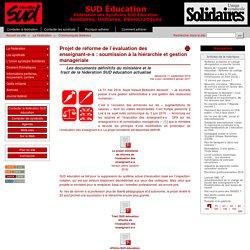 Projet de réforme de l'évaluation des enseignant-e-s