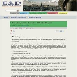 Réforme des lycées : les observations d'Education & Devenir - [Éducation et devenir]