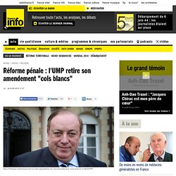 "Réforme pénale : l'UMP retire son amendement ""cols blancs"" 
