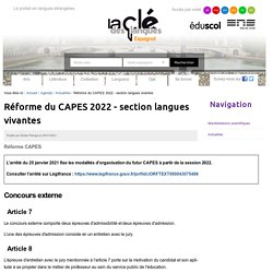 Réforme du CAPES 2022 - section langues vivantes — Espagnol