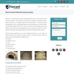 Refractory Mortar Cement Suppliers & Manufacturers India
