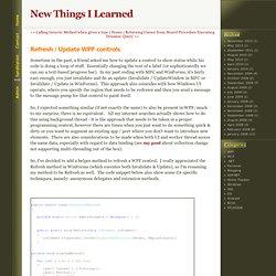 Refresh / Update WPF controls
