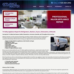 Tri-Valley Appliance Repair: Refrigerator, Dishwasher, Washing Machine, Dryer, more