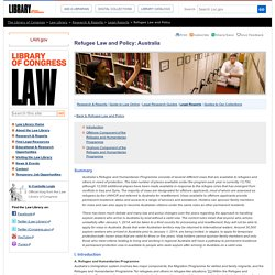 Refugee Law and Policy: Australia