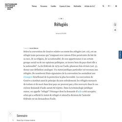 Article : Réfugiés / Dictionnaire historique de la Suisse