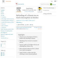 Food Policy Available online 13 January 2021, Refunding of a climate tax on food consumption in Sweden