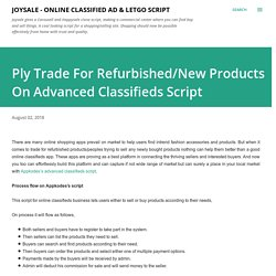 Ply Trade For Refurbished/New Products On Advanced Classifieds Script