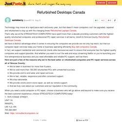 Refurbished Desktops Canada