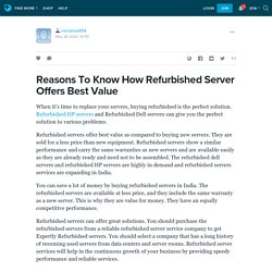 Reasons To Know How Refurbished Server Offers Best Value