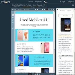 Refurbished Phones For Sale - Used Mobiles 4 U