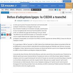 Refus d'adoption/gays: la CEDH a tranché