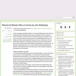 Résumé de Refuser d'être un homme de John Stoltenberg