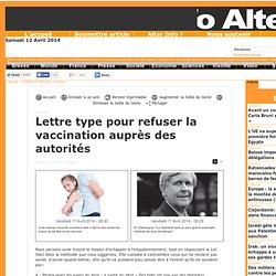 Lettre type pour refuser la vaccination auprès des autorités
