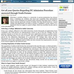 Find Complete Details Regarding DU Admission Procedure at Youth Forums