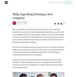 Help regarding forming a new company