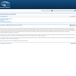 PARLEMENT EUROPEEN - Réponse à question P-013464-15 Regarding the French ban on BPA