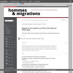 Regards sur les migrations aux XIXe et XXe siècles en Rhône-Alpes