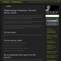 Regenerating Temporary Terminal Server CALS.