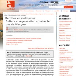 culture & regeneration urbaine le cas de Glasgow