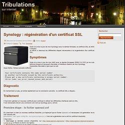 Synology : régénération d'un certificat SSL