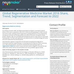 Global Regenerative Medicine Market 2016 Share, Trend, Segmentation and Forecast to 2022