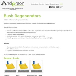 Bush Regenerators – Anderson Environmental