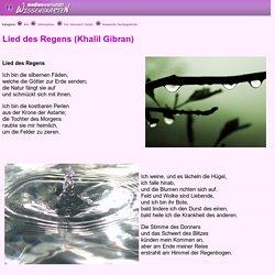 Lied des Regens (Khalil Gibran) - Medienwerkstatt-Wissen © 2006-2015 Medienwerkstatt