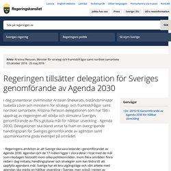 Regeringen tillsätter delegation för Sveriges genomförande av Agenda 2030