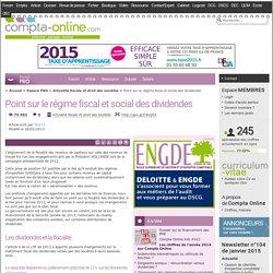 Point sur le régime fiscal et social des dividendes Newsletter n°83