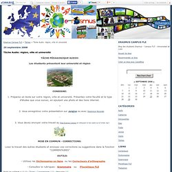 Tâche Audio: région, ville et université - Erasmus Campus FLE