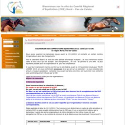 Comité Régional d'Equitation Nord Pas de Calais- Calendrier concours 2015