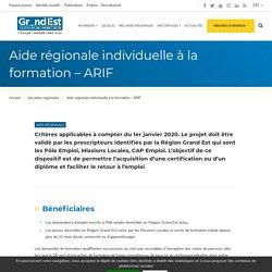 Aide régionale individuelle à la formation – ARIF