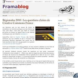 Régionales 2010 : Les questions claires de Creative Commons Fran