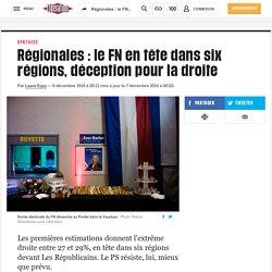 Régionales: le FN en tête dans six régions, déception pour la droite