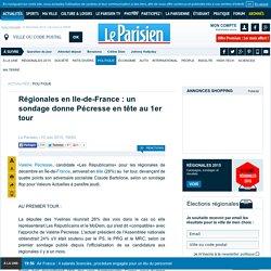 Régionales en Ile-de-France : un sondage donne Pécresse en tête au 1er tour