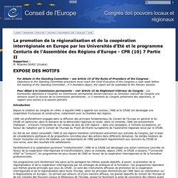 Congrès des pouvoirs locaux et régionaux - La promotion de la régionalisation et de la coopération interrégionale en Europe par les Universités d'Eté et le programme Centurio de l'Assemblée des Régions d'Europe