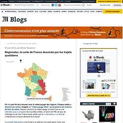 Regionator, la carte de France dessinée par les trajets quotidiens