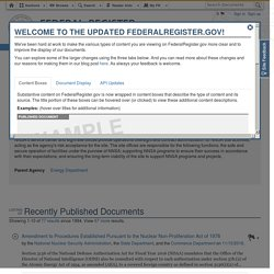 [Federal Register LINK] National Nuclear Security Administration Documents