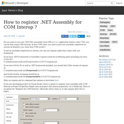 How to register .NET Assembly for COM Interop ?
