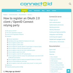 How to register an OAuth 2.0 client / OpenID Connect relying party