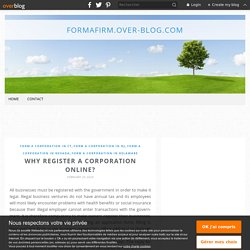 Why register a corporation online?