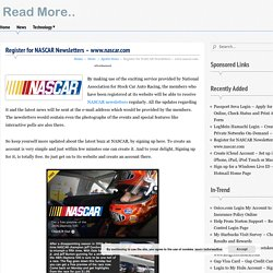 Register for NASCAR Newsletters - www.nascar.com