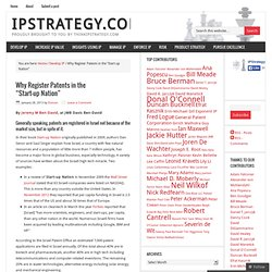 "Why Register Patents in the ""Start-up Nation"" – ipstrategy.com"