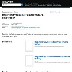 Register if you're self-employed or a sole trader