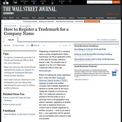 How to Register a Trademark for a Company Name - Small Business