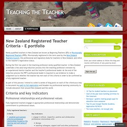 New Zealand Registered Teacher Criteria – E portfolio