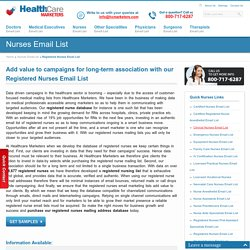 Registered Nurses Email List, Mailing Addresses and Database from Healthcare Marketers