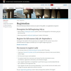 Registering for Harvard Extension School Courses
